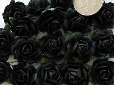 100 Cute Handmade Mulberry Paper Roses - 10MM - Stylish Black Rose Embellishment