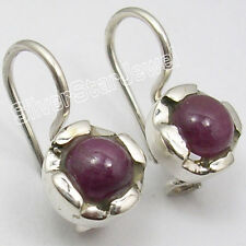 """925 Pure Silver NATURAL RUBY GEMSTONE ANTIQUE STYLE Earrings 0.7"""" BRAND NEW"""