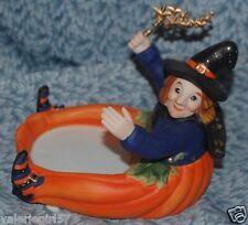 Party Lite PUMPKIN WITCH Large Ceramic Figurine Candle Holder + Tealight Set NIB