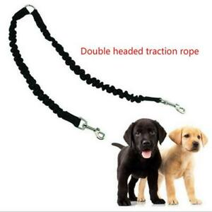 Two Pet Dogs Elastic Leash two Dogs Lead Rope with Two Dogs w/Metal Coupler