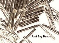 50 Pcs X 15Mm Silver Plated Decorative Tube Beads Jewellery Findings