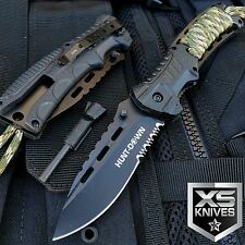 "8"" HUNT DOWN CAMPING SPRING ASSISTED OPEN TACTICAL POCKET KNIFE + FIRE STARTER"