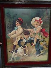 VTG. LITHOGRAPH PRINTED IN GERMANY SAILOR BOY, BLONDE GIRL, GROWLING DOG 16X20