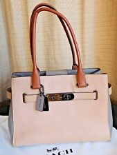 Coach Swagger Carryall Satchel Colorblock Leather Antique Nickel Nude Taupe Tan