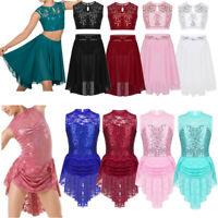 Girl Lyrical Ballet Dance Leotard Dress Kid Sequins Contemporary Skirt Dancewear
