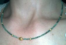 15 ctw Genuine Emerald and solid 14k Gold Necklace