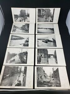Lot of 10 Postcards 1907 Pittsburgh PA Flood Pennsylvania Railroad Station Depot