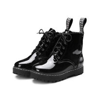 Women Collegiate Wedge Heels Lace Up Platform Ankle Boots Patent Leather Shoes D