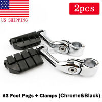 """1/"""" Black 3 Piece Motorcycle Frame Clamp 3//8 Bolt Hole Exhaust Foot Pegs Lights"""