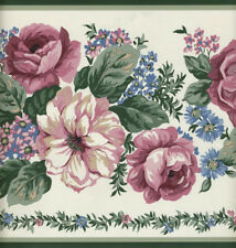 PINK , GREEN ,AND BLUE FLORAL WITH GREEN TRIM WALLPAPER BORDER