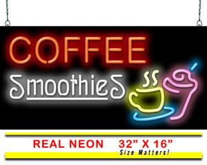 "Coffee Espresso Neon Sign   Jantec   32"" x 16""   Cafe Shop Smoothies Bar Latte"