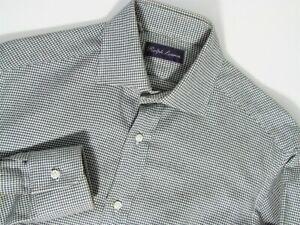 Ralph Lauren Purple Label Cotton Houndstooth Spread Gray Shirt S 14-1/2 35 Italy