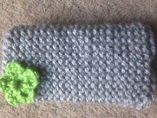 HAND Knitted Cellulare Calzino/Coperchio/Custodia Grigio/Verde Dettaglio Fiore