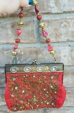 """Coral colored Bling Vintage Evening bag with Red Stone handle Rhinestones 7 X 7"""""""