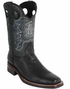 WILD WEST BLACK GENUINE SHARK COWBOY BOOT RODEO-SQUARE-TOE RUBBER SOLE (EE)