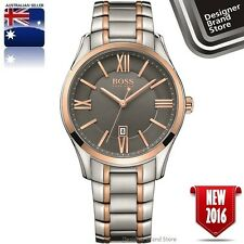 New Hugo Boss Mens Ambassador Watch Silver & Rose Gold S/Steel Grey Dial 1513388