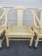 Henredon 4 Oriental Chair Horseshoe Goat Skin Table Chinoiserie Dining Game Ming