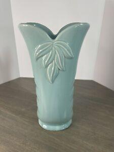 """Vintage Turquoise Blue 10"""" TALL VASE Flower USA #215"""