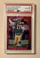 AARON RODGERS, 2015 Topps Chrome #2, Pink Refractor 298/399, PSA 10 GEM MINT
