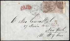 UK GB US 1861 COVER LONDON TO NEW YORK $670 PAIR Sc 27 WMK EMBLEMS WITH 5 CENT