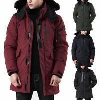 Men Down Cotton Jacket Hooded Parka Fur Collar Long Mid Winter Warm Coat Outwear