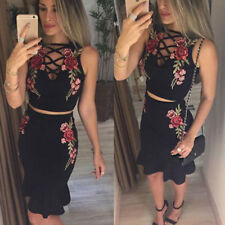 Sexy Women Floral Two Piece Party Evening Cocktail Bodycon Midi Dress Set