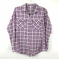 CAbi Womens Size Medium Purple Plaid Lace Up Back Button Down Shirt Top