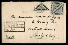 Dr Who 1939 Liberia Robertsport Registered Triangle Pair To Usa f80802