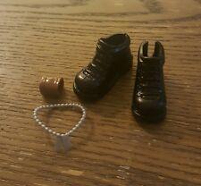 Barbie My Scene Boy Shoes Sutton Ken Doll Shoes Boots Black Dog Tags Necklace