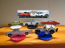 DUKES OF HAZZARD-  HAZZARD COUNTY BIRTHDAY DECORATIONS- 5  CAR CUTOUT FANS