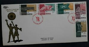 1962 Indonesia The 4th Asian Games FDC ties 5 Stamps cd Bandung