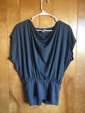 Sweet Pea Anthropologie Womens Soft Grey Batwing Gathered Knit Top Size Medium