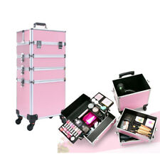 4 in 1 Pro Aluminum Rolling Makeup Case Salon Cosmetic Organizer Trolley Pink
