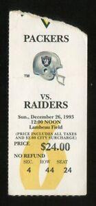 Football Ticket 1993 Green Bay Packers Raiders 12/26 1st Lambeau Leap