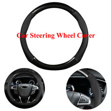 "For 15"" 38cm Car Carbon Fiber Leather Steering Wheel Cover Black Non-slip Covers"