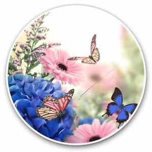2 x Vinyl Stickers 7.5cm - Pretty Butterflies Flowers Cool Gift #2419