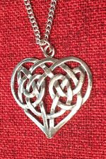 Celtic Heart Pendant Gaelic Irish Love Endless Knot Irish Silver Pewter Necklace