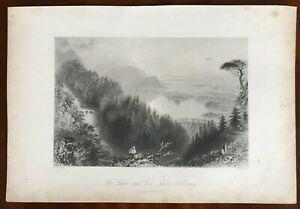 Torc Lakes from Torc Waterfall Killarney Co Kerry Vintage Print Ireland 1840