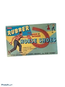 Vintage Schylling Rubber Horse Shoes Indoor Outdoor Pitching Game Complete
