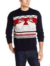 Dockers Men's Moose Motif Crew Ugly Christmas Sweater Size XL - Deep Night