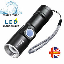 Cree LED Torch USB Rechargeable Ultra Bright 4X Zoomable Beam Waterproof Mini