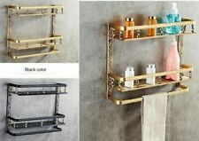Bathroom Aluminum Shelves Double Layer Rack Space Wall Bronze Square Antique