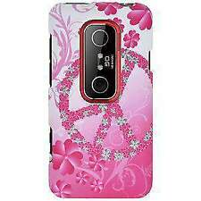 NEW RUBBERIZED PEACE & LOVE SHELL CASE COVER FOR HTC EVO 3D, HTC EVO V 4G