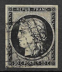France 1949  N° 3 Noir / Blanc   Oblitéré Grille  TBE