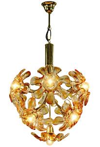 Vintage Mazzega Murano Glass Blossom Chandelier 11 Light Pendant Lamp MCM 60s