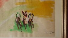 aquarelle saman chevaux course saint tropez