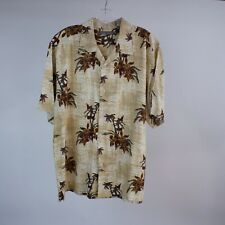 John Henry L Hawaiian Shirt Beige Floral Aloha Lounge Wear Button Front S/S