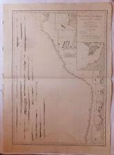 Carte marine nautical map Amérique du Sud: Pérou, Bolivie, Chili  XIXème s