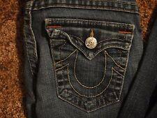 $ TRUE RELIGION  JOEY TWISTED LEG  JEANS  27 x 30.5  made in USA Dark Blue Denim