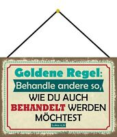 Behandle andere so .. Blechschild Schild mit Kordel Tin Sign 20 x 30 cm FA1462-K